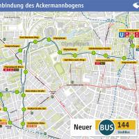 MVG Linienplan der neuen Buslinie 144